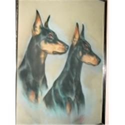 PASTELS OF DOBERMAN DOGS CIRCA 1960'S PROFESSIONAL PORTRAIT SIGNED BY SANCHEZ FRAMED UNDER GLASS 24""