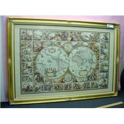 "FRAMED PRINT GLOBE OF THE AMERICA'S 40""WIDE 28"" HIGH."
