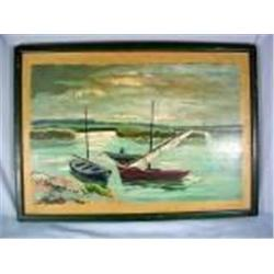 "FRAMED OIL PAINTING ON BOARD ""BOATS AT THE BAY"". UNSIGNED. 23"" X 17"""