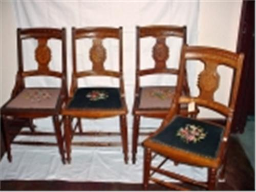 SET OF FOUR SOLID OAK EASTLAKE DINING ROOM CHAIRS DATED 1864 FINISHED WITH  NEEDLEPOINT SEAT COVERS. Loading Zoom