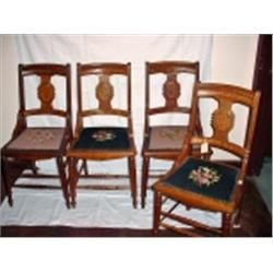 SET OF FOUR SOLID OAK EASTLAKE DINING ROOM CHAIRS DATED 1864 FINISHED WITH NEEDLEPOINT SEAT COVERS T