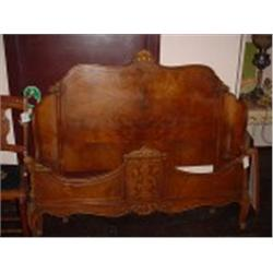 VICTORIAN STYLE HEAD AND FOOT BOARD, VERY ORNATE HAND CARVING, BIRDS-EYE MAPLE WITH INLAY. ORIGINAL