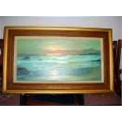 "FRAMED AND MATTED OIL ON BOARD, SEASCAPE BY MIWA. KOIDE. 1970 23.5"" X 38.5""."