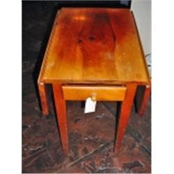 DROP LEAF TABLE, WILLIAM FETNER FROM HAMLET NORTH CAROLINA, KNOTTY PINE, SIGNED, ONE DRAWER. 36  X 2