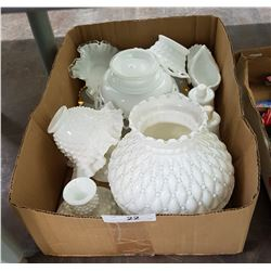 TRAY LOT VINTAGE MILK GLASS
