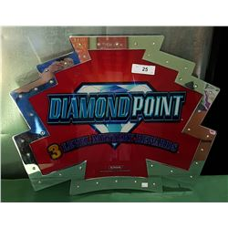 ORIGINAL DIAMOND POINT GLASS SLOT MACHINE MARQUEE