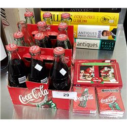 2 ORIGINAL COCA-COLA CARDBOARD BOTTLE CARRIERS W/BOTTLES & 4 NEW PACKS OF PLAYING CARDS