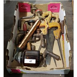 TRAY LOT ANTIQUE HAND TOOLS