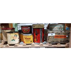 9 VINTAGE COLLECTIBLE TINS