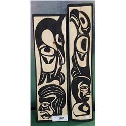 2 NATIVE CARVED WOOD PLAQUES SIGNED