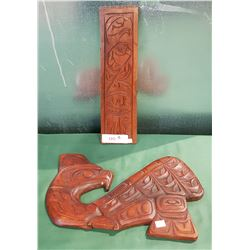 2 NATIVE CARVINGS ONE SIGNED