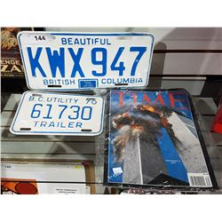 2 VINTAGE BC LICENSE PLATES AND 9-11 TIME MAGAZINE