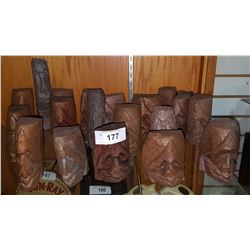 COLLECTION OF APPROX 20 NATIVE CARVED HEADS SIGNED