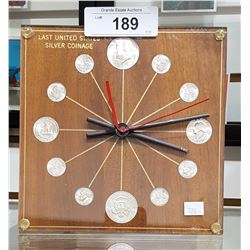 VINTAGE LAST UNITED STATES SILVER COINAGE CLOCK