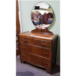 ART DECO WATERFALL 3 DRAWER DRESSER WITH MIRROR