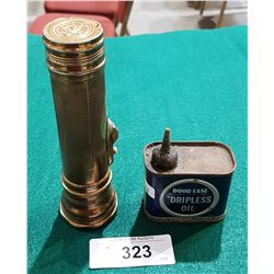 VINTAGE BRASS FLASHLIGHT AND DOOR-EASE DRIPLESS OIL TIN