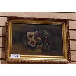 ANTIQUE GILT FRAMED OIL PAINTING OF PANSIES