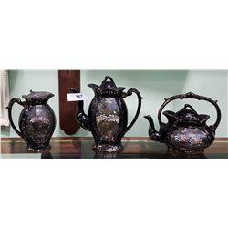 3 PC VICTORIAN HAND PAINTED TEA SET