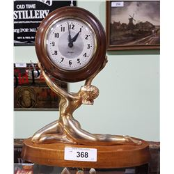 ART DECO FIGURAL SNIDER 8 DAY MANTLE CLOCK