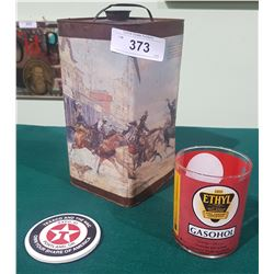 VINTAGE 1 GALLON OIL CAN, TEXACO EXPO 93 POSTER AND GASOHOL GLASS MEASURE