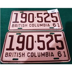PAIR OF VINTAGE 1961 BC LICENSE PLATES