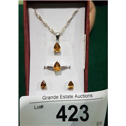 STERLING SILVER CITRINE NECKLACE, RING, AND EARRING SET