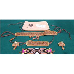 4 PIECE NATIVE NECKLACE, EARRING, AND BRACLET SET
