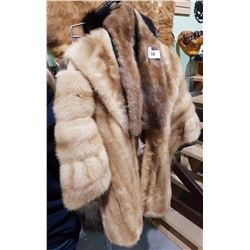 LADIES FAUX FUR JACKET AND 2 FUR STOLES