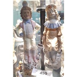 PAIF ANTIQUE GERMAN PORCELAIN FIGURINES