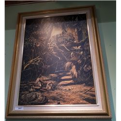 GILT FRAMED OIL OF JAGUAR