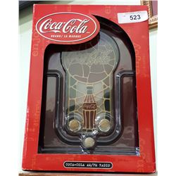 NIB COCA-COLA RADIO WITH STAIN GLASS FRONT