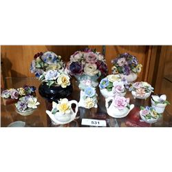 COLLECTION OF 13 CHINA FLORALS