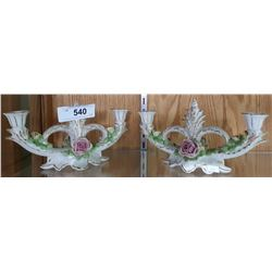 PAIR OF VINTAGE DRESDIN CANDLE HOLDERS