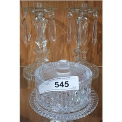 PAIR OF CRYSTAL DROP CANDLE HOLDERS AND COVERED BUTTER DISH