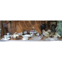 SHELF LOT OF COLLECTIBLE CHINA AND GLASS