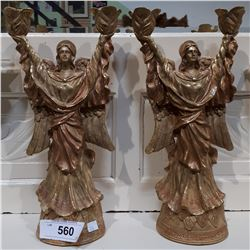 PAIR OF ANGEL CANDLE STICKS