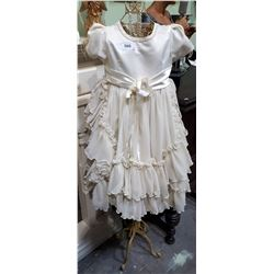 BEAUTIFUL CHILDS GOWN, SIZE 6, ON VINTAGE WROUGHT IRON DRESS FORM