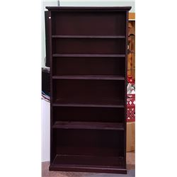 6 TIER SOLID WOOD W/DARK MAHOGNAY FINISH BOOKSHELF