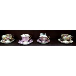 4 JAPANESE WESTERN TEACUPS & SAUCERS
