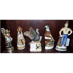 5 VINTAGE COLLECTIBLE FIGURAL LIQUOR DECANTERS