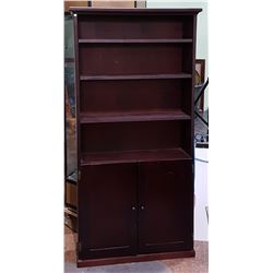 4 TIER SOLID WOOD W/DARK MAHOGANY FINISH BOOKCASE W/CABINET