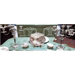 PAIR OF ORNATE SILVER PLATE CANDELABRA