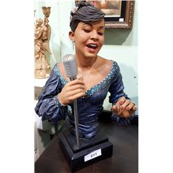 STATUE OF JAZZ SINGER ON HEAVY BASE