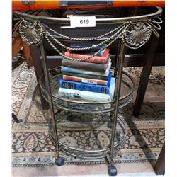 3 TIER GLASS AND METAL TEA TABLE