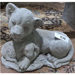 CONCRETE LION AND LAMB GARDEN STATUE