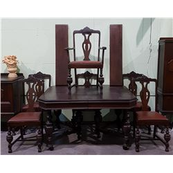 1930/40'S CANADIANA 7 PC DINING TABLE AND CHAIR SET