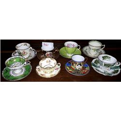 8 COLLECTIBLE CHINA DEMITASSE TEACUPS & SAUCERS