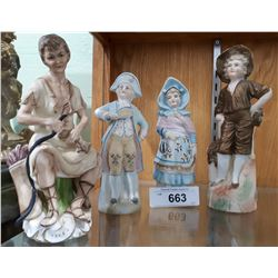 4 VINTAGE GERMAN PORCELAIN FIGURINES