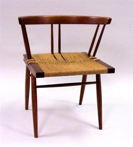 Image 1  A GEORGE NAKASHIMA CHERRYWOOD LOW-BACK GRASS SEATED CHAIR WITH ROPE SEAT & A GEORGE NAKASHIMA CHERRYWOOD LOW-BACK GRASS SEATED CHAIR WITH ROPE SEAT