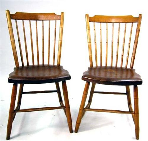 Bamboo Turned Chair: A PAIR OF FAUX-BAMBOO TURNED WINDSOR THUMB-BACK SIDE CHAIRS